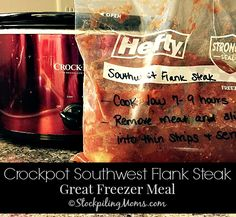 This is a must pin slow cooker freezer meal recipe - Crockpot Southwest Flank Steak!
