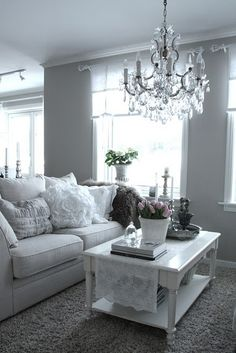 I Have Fallen In Love With Grey Walls Chandelier And White Lace Accents The Look But Maybe TOO Formal For My Fam