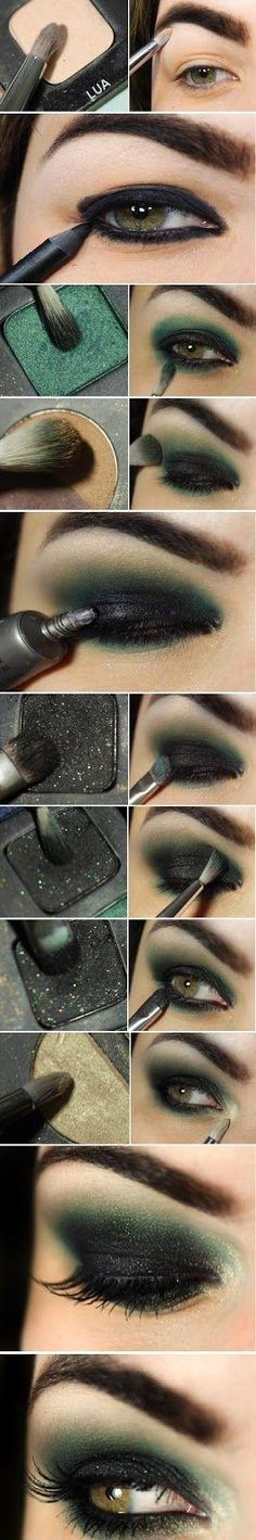 How to : Easy Sexy Black & Green Makeup Tutorials # Step by Step