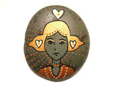 Painted stone/paperweight by Ludibund on Etsy, $14.00