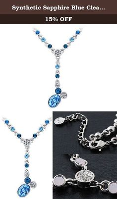 Synthetic Sapphire Blue Clear Swarovski Crystal Dangle Drop Chain Scarf Jewelry Necklace. Beautiful Synthetic Sapphire and blue Synthetic Zircon Swarovski crystals are used to make this beautiful piece of fine fashion jewelry. Like the dew drops against the rising sun at dawn, these crystals are perfectly faceted to radiate brilliantly in the light. This necklace makes for a splendid gift. Measures 15 inches.