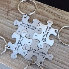 Puzzle piece Keychain set of four hand stamped best friends, sisters , mother daughter gift  stamped initials wedding party gift