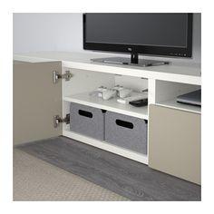 BESTÅ TV-Bank, weiß, Selsviken Hochglanz beige weiß/Selsviken Hochglanz beige 180x40x38 cm Schubladenschiene, Drucksystem