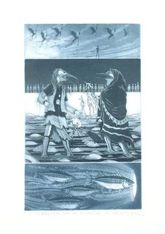 """The Apprentice and the Stranger"" by Cree (First Nations) artist Michael Robinson Michael Robinson, Canadian Artists, Native Art, First Nations, Indian Art, Nativity, Gallery, Prints, Artwork"