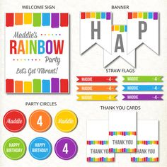 Here's our fun rainbow birthday printable collection that you can have personalized by us! Just visit us in our new Catch My Party Printables Store! See more rainbow party ideas at CatchMyParty.com.