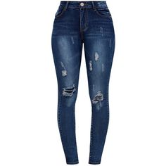Vintage Wash Distressed Skinny Jeans ($34) ❤ liked on Polyvore featuring jeans, bottoms, calças, pants, torn skinny jeans, destructed jeans, distressed jeans, destroyed jeans and blue ripped jeans