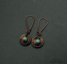 copper earrings and natural stone: turquoise copper, turquoise, natural stones wire wrapped, alambrismo 9.00€ [~$11.01]