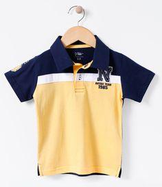 Camiseta infantil Manga curta Gola polo Com recorte Com bordado Marca  Póim  Tecido  meia ae4e76f66f37e
