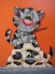 pintura em tecido gatinhos - Pesquisa Google