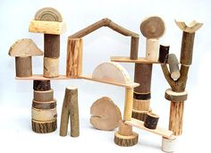 Wooden toy Set of 40 natural building tree blocks Wooden
