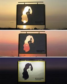 Coolest billboard promoting Wella Haircolor!! Same billboard at Sunrise,sunset, and night! Love my Wella...Brilliant!