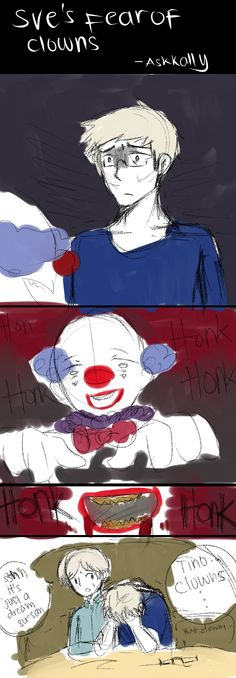 Sweden's fear of  Clowns. by Aris-Falcon.deviantart.com on @deviantART. Poor Sweden! Don't worry, Su-san, I'll protect you from the evil clowns.