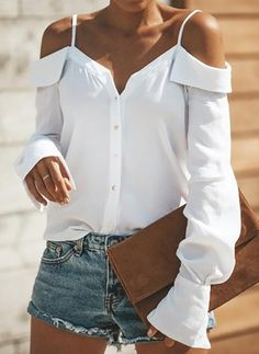 Button Down Shirt/Blouse. Summer Fashion Tops Blouse for Women Collars For Women, Blouses For Women, Ladies Blouses, Ladies Tops, Cheap Blouses, Vetement Hippie Chic, Sexy Bluse, Textiles Y Moda, Shirt Blouses