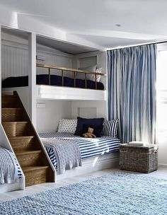 If there are kids in your family with a nautical bent, what better way to jazz up their rooms than with beach-themed bunk beds? Bunk beds don't just save space, . Read moreSpruce Up a Bedroom with these Creative Beach Bunk Beds Bunk Rooms, Boys Bunk Bed Room Ideas, Boy Bedrooms, Bunk Beds Boys, Bunk Beds Built In, Bunk Bed Ideas For Small Rooms, Kids Bedroom Ideas, Cabin Bunk Beds, Kids Bedroom Boys
