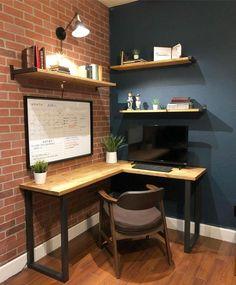 Corner Desk Shelf, Desk Shelves, Corner Office Desk, Small Corner Desk, Study Corner, Floating Corner Desk, Corner Workstation, Bedroom Corner, Bedroom Desk