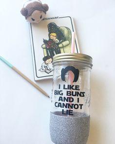 Princess Leia Disney Star Wars Buns Mason Jar Cup https://www.etsy.com/listing/477830229/princess-leia-star-wars-big