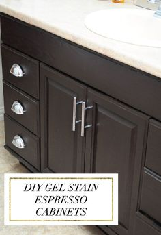 DIY Gel Stain Espresso Cabinets -- The best, most detailed tutorial for staining lighter cabinets a darker color. She uses espresso/java stain, but any darker stain works. Monica still replies to emails if you need help during your project! Home Renovation, Home Remodeling, Staining Oak Cabinets, Staining Furniture Darker, How To Restain Cabinets, Restain Wood, Restaining Cabinets, Stain Furniture, Furniture Refinishing