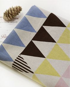 Cotton Linen Pastel Triangles Geometric By the Yard 59 by landofoh
