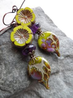 Cottage Garden ... Lampwork, Amethyst and Czech Glass Wire-Wrapped Rustic, Boho, Woodland, Floral Earrings