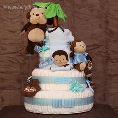 Blue Monkey Diaper Cake Diaper Cakes and Gift Baskets Toronto