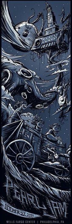 Pearl Jam -Philadelphia - night2 - LightningBoltTour2013 - 22/10/2013 - Poster by Dayne Henry