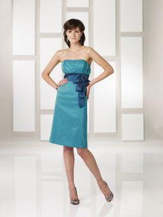 Taffeta Strapless Softly Curved Neckline Sheath Above-the-knee Wedding Party Dress