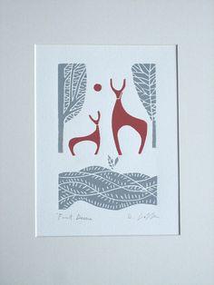 Items similar to Deer Lino Print - Deer Decor Linocut - Winter Woodland Deers, Original Lino Print - Block Print - Winter - Mid Century Modern Art on Etsy Stamp Printing, Screen Printing, Linocut Prints, Art Prints, Block Prints, Deer Decor, Illustration Art, Illustrations, Stamp Carving