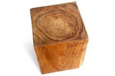 Natural Wood Stool - Square