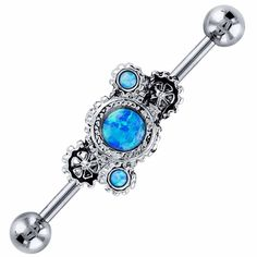 FreshTrends Blue Faux Opal Steampunk Industrial Barbell