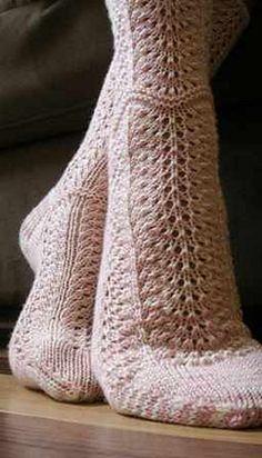 Ravelry: Feather & Fan Socks pattern by Judy Sumner Fishnet Socks, Footless Tights, Knitting Patterns, Crochet Patterns, Pointed Ankle Boots, Yarn Inspiration, Sock Knitting, Sock Shop, Black White Pattern