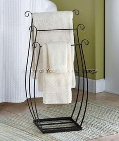 Freestanding Metal Towel/Quilt Rack is great for the bathroom, family room, bedroom and more. This sturdy space-saver has 3 separate tiers for holding&n Iron Furniture, Steel Furniture, Furniture Storage, Bedroom Storage, Bedroom Decor, Towel Rack Bathroom, Towel Racks, Wrought Iron Decor, Bathroom Furniture