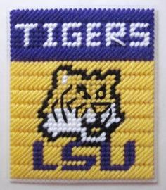 LSU Tigers tissue box cover in plastic canvas PATTERN ONLY (Ibis)