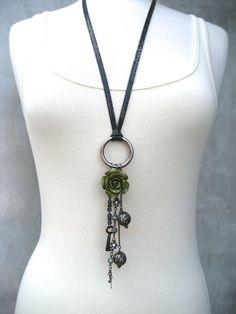 Assemblage Necklace - Charm Necklace - Boho Jewelry - Skeleton Key - Green Flower - Piece Lust. $55.00, via Etsy.