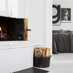 Gray bedding | Fireplace | Black&White