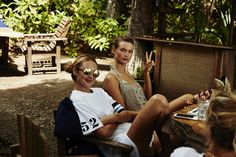 Best. Lunch break. Ever. Candice Swanepoel & Behati Prinsloo enjoy some fresh food on the beach in Montezuma, Costa Rica. | Victoria's Secret