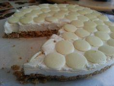 Strawberry yogurt and white choc buttons cheesecake! :D