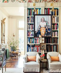 """A Peter Rogers portrait of Alex Hitz's close friend, the late Nan Kempner, hangs in the library of his Los Angeles house. """"The room doesn't get a lot of light, so I decided to make it cozy and turned it into an English-style portrait room, which is ridiculous, but fun."""""""