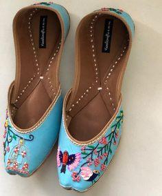Blue Bridal Shoes, Bridal Sandals, Wedding Shoes, Indian Shoes, Ankle Strap Flats, Bride Shoes, Beautiful Shoes, Womens Flats, Girls Shoes
