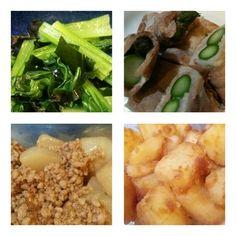 お弁当用作り置き。 小松菜とわかめの酢の物、肉巻きアスパラ、蕪と挽肉の煮物、じゃが芋甘辛煮。