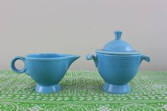 Fiesta Cream and Sugar In Vintage Turquoise Blue by by Astarix, $88.00