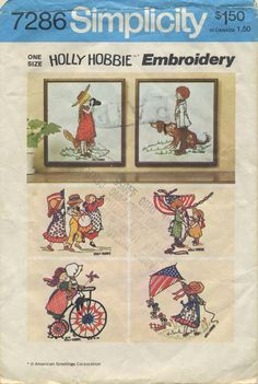 """Vintage Sewing Pattern for Holly Hobbie Embroidery 