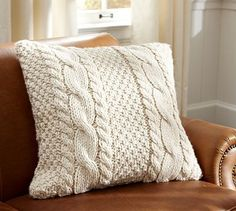 Hand-Knit Cable Pillow Cover contemporary pillows