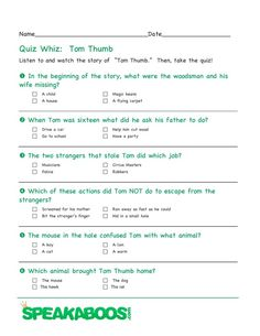 Quiz Whiz: Tom Thumb | Speakaboos #Worksheets #quiz #education #kids