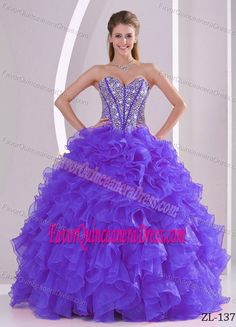 Ruffled Ball Gown Sweetheart Beaded Quinceanera Gown Dresses in Organza