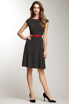 Anne Klein Cap Sleeve Belted Polka Dot Dress