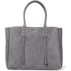 Lanvin The Shopper suede tote ($1,545) ❤ liked on Polyvore featuring bags, handbags, tote bags, grey, laptop purse, tote purses, gray tote bag, handbags totes and lanvin tote