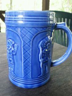 Mepoco Ware Blue Ceramic Mug | Relief Costumed European Figures