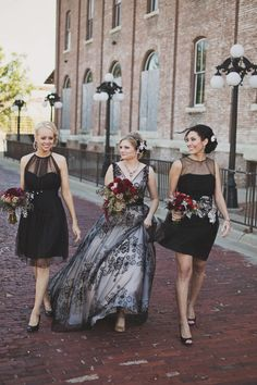 25 Glamorous Black Wedding Dresses: Black V neck Lace Wedding Gown Black Wedding Dresses, Wedding Bridesmaid Dresses, Halloween Bridesmaid Dress, Black Lace Bridesmaid Dress, Black Gowns, Bridal Gowns, Wedding Gowns, Lace Wedding, Wedding Blush
