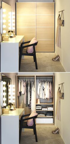 PAX wardrobes - Even behind closed doors, you can avoid closet clutter by making sure you have the right type of organization for your things. Closet Bedroom, Home Bedroom, Bedroom Decor, Bedrooms, Closet Vanity, Ikea Vanity, Walking Closet, Pax Wardrobe, My New Room