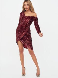 Velvet Sequin Asymmetric Mini Dress in Burgundy Dress Outfits, Fashion Dresses, Prom Dresses, Formal Dresses, Fashion Shoot, Fashion Models, Lavish Alice, Shades Of Burgundy, Sequin Mini Dress